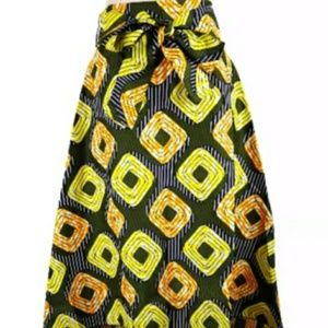 Yellow and grey asymmetrical high/low skirt